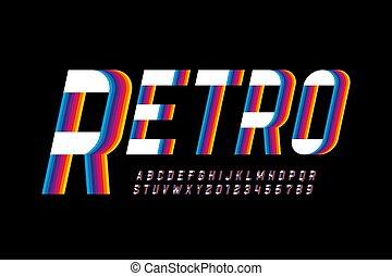 lettertype, retro, kleurrijke, stijl