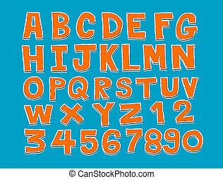 lettertype, schets, ontwerp, lijn, dra, hand