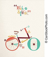 lettertype, school, fiets, hipster, back