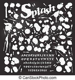 lettertype, set, vloeistof