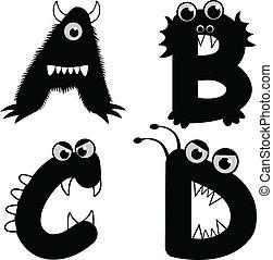 lettertype, type, monster