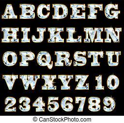 lettertype, van, kostbare stenen, en, goud, velg