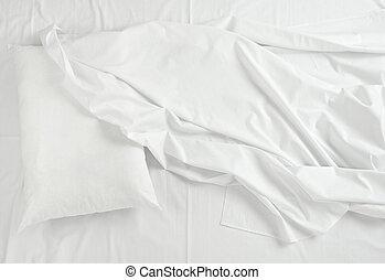 lettiera, sonno, fogli, letto, cuscino