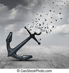 Letting Go - Letting go psychology concept as a heavy anchor...