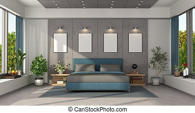 letto, blu, doppio, camera letto, maestro, moderno