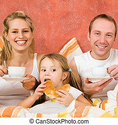 letto, colazione, tre, famiglia, detenere