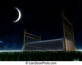 letto, esterno, sotto, il, stelle