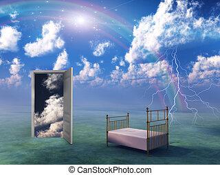 letto, in, fantasia, paesaggio
