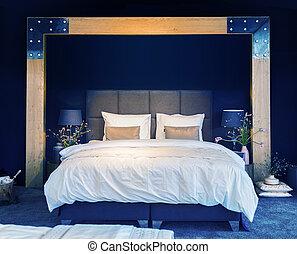 letto, stanza, contemporaneo, stile