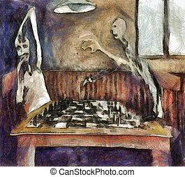 lettori, duello, scacchi