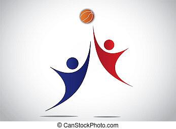 lettori, pallacanestro, giovane, gioco