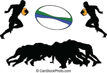 lettori, rugby, illustrazione