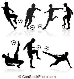lettori, silhouette, football