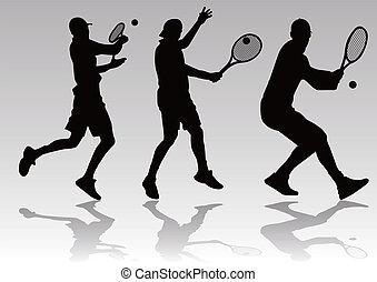 lettori, silhouette, vettore, -, tennis