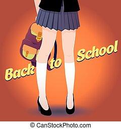 lettrage, école, japonaise, dos, sac, retro, écolière, jambes, style.