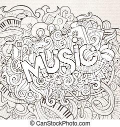 lettrage, éléments, main, arrière-plan., musique, doodles