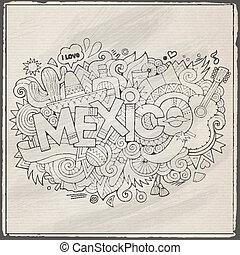 lettrage, éléments, mexique, main, fond, doodles