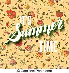 lettrage, été, il, arrière-plan., boho, temps