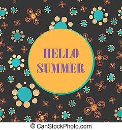 lettrage, été, seamless, fond, impression, bonjour