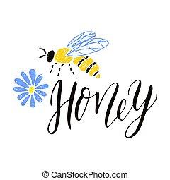 lettrage, étiquette, flower., abeille, miel