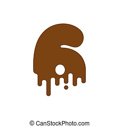 lettrage, abc, alphabet., liquide, figure., signe numéro, viscous, 3, trois, font., doux, chiffre, chocolat, douceur