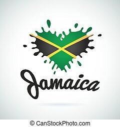 lettrage, aimez coeur, jamaïque, illustration, drapeau, musique, africaine, impression, logo, carribean, design.