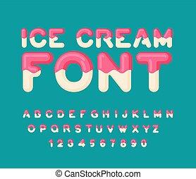 lettrage, alphabet., popsicle, nourriture, dessert, abc., glace, letters., typography., bonbons, font., crème froide, comestible