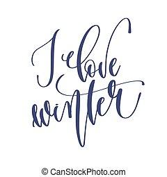 lettrage, amour, hiver, inscription, texte, -, main, holida