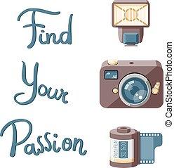 lettrage, appareil photo, accessoires, retro