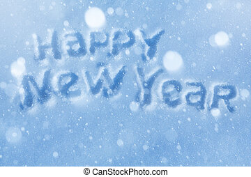 lettrage, art, salutation, année, nouveau, carte, heureux