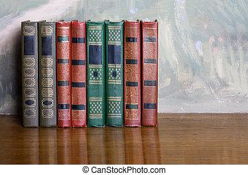 lettrage, b, or, richly, livres, volumes, décoré