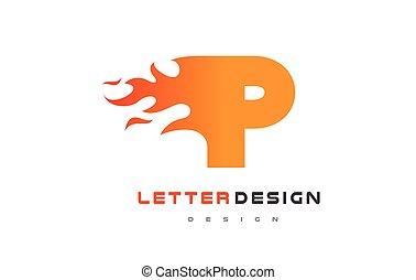 lettrage, brûler, concept., p, flamme, lettre, logo, design.