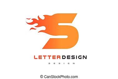 lettrage, brûler, concept., s, flamme, lettre, logo, design.