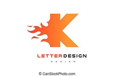 lettrage, brûler, k, flamme, lettre, logo, concept., design.