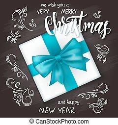 lettrage, branches, bouclé, cadeau, sommet, illustration, main, réaliste, vecteur, étiquette, tableau, dessiné, vue, feuilles, noël, salutations