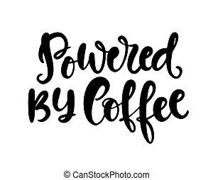 lettrage, café, écrit, actionné, main