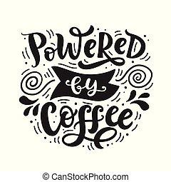 lettrage, café, main écrite, actionné