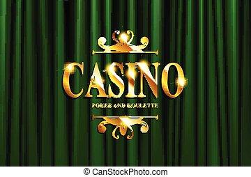 lettrage, casino, vert, or, rideau