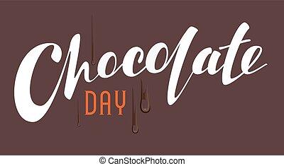 lettrage, chocolat, jour, texte