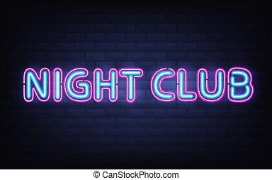 lettrage, club, néon, mur, fond, nuit, brique