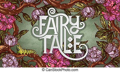 lettrage, coloré, feuilles, conte, fée, fleurs, décoré