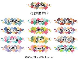 lettrage, coloré, mois, main, nombres, fond, année, dessiné, blanc, carrés, grands traits