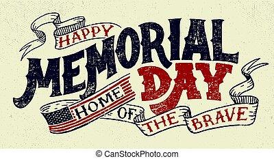 lettrage, commémoratif, salutation, main, jour, carte, ...