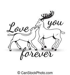 lettrage, couple, amour, cerf, doux