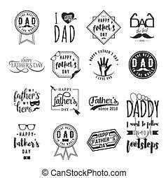 lettrage, cravate, photo, main., étiquettes, signe, conception, logo, set., père, isolé, emblèmes, retro, dessiné, pères, heureux, moustache, lunettes, toile, main, voeux, overlays, jour, print., badges., salutation, ou