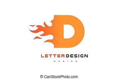 lettrage, d, brûler, concept., flamme, lettre, logo, design.