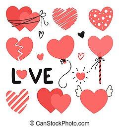 lettrage, différent, ensemble, amour, saint-valentin, éléments, mariage, cœurs, ton, design.