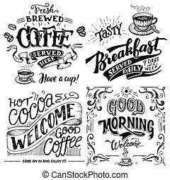 lettrage, ensemble café, main, cacao, petit déjeuner