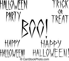 lettrage, ensemble, effrayant, halloween, -, expressions