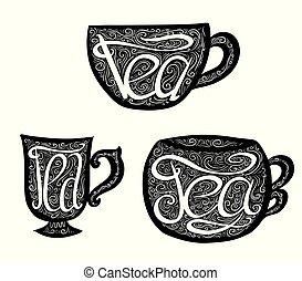 lettrage, ensemble, illustration., griffonnage, main, noir, teacups, dessiné, tracery.